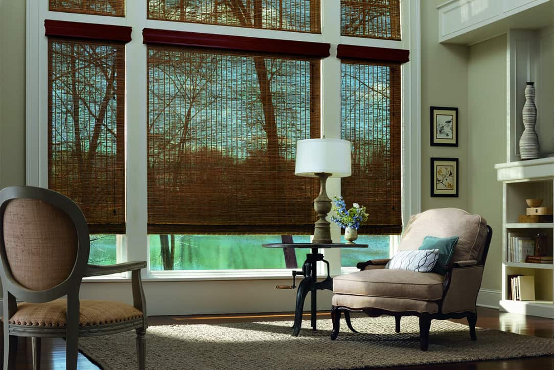 Adding Woven Wood Shades to Homes Near Washington, D.C. like  Hunter Douglas Options for Living Rooms