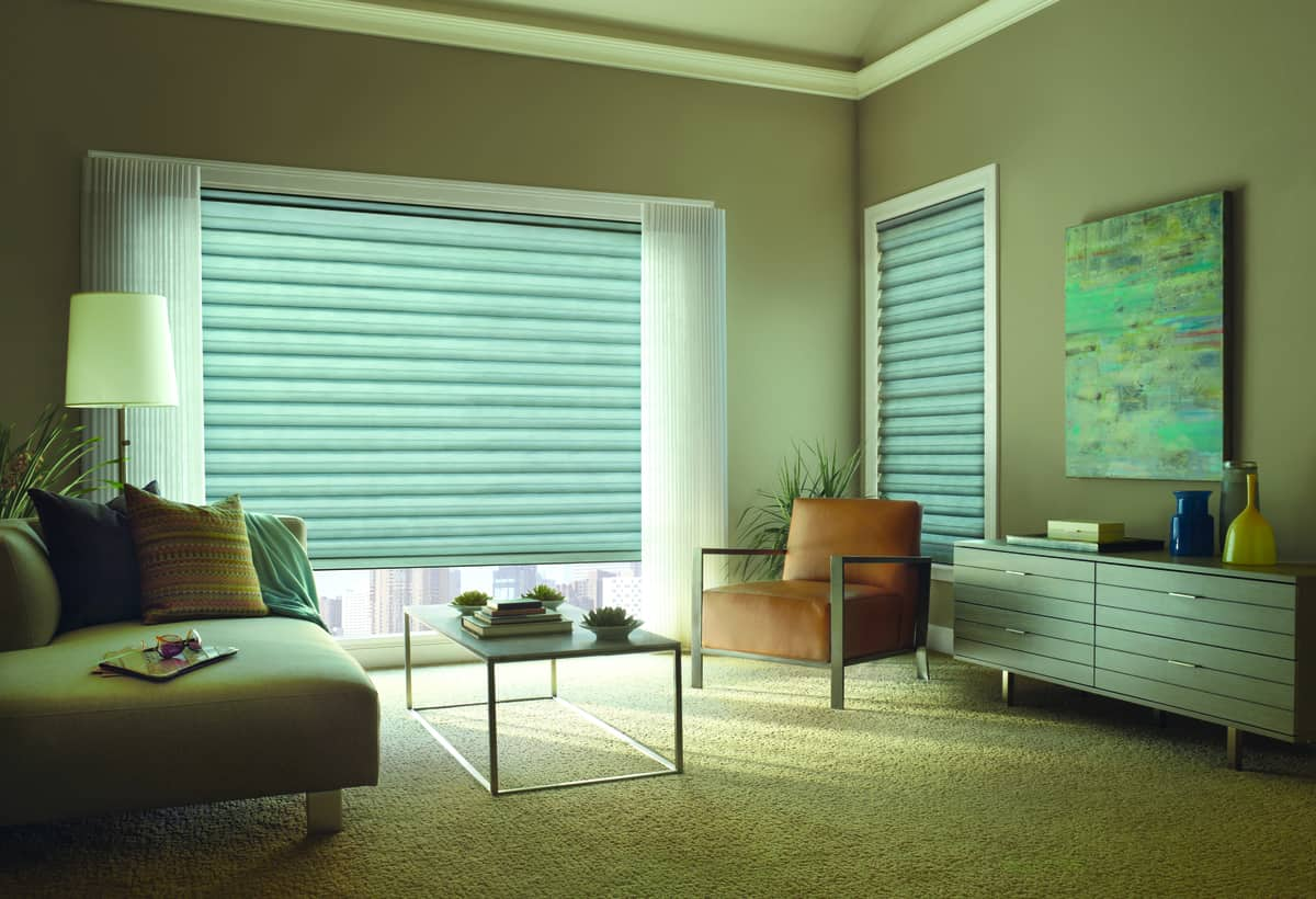 Home Options for Custom Roman Shades Near Bethesda, Maryland (MD) like Solera Soft for Living Rooms